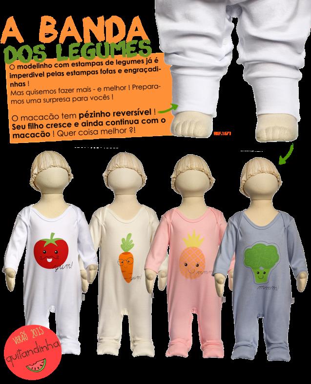 legumes, macacão, pézinho, macacão que cresce junto, keko, bebês, fashion, verão, 2015